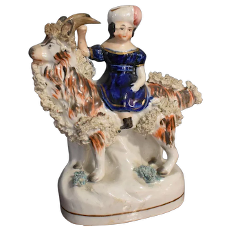 Antique English Staffordshire Figurine of Young Girl & Goat  c.1860