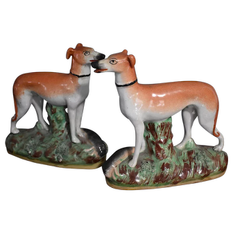 Pr, of Staffordshire Victorian Lg, whippet or Greyhound Figures