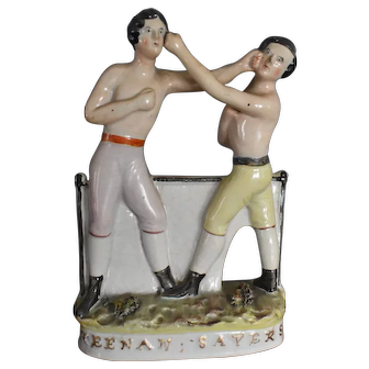 Antique Staffordshire Boxing Figure Group of Heenan & Sayers