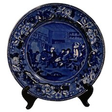 Historical Blue Staffordshire Dr Syntax Plate - Reading His Tour
