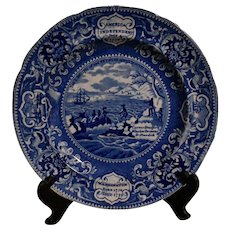 Historical Blue Staffordshire Plate America Independent