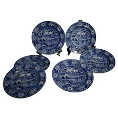 Six Historical Blue Staffordshire Plates Circa 1825