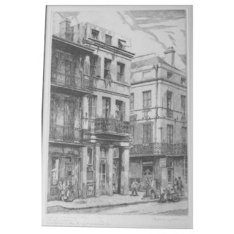 """Artist-signed etching by top New Orleans printmaker MORRIS HENRY HOBBS, """"Conti St & Exchange Alley"""" 1943 Ed/200"""