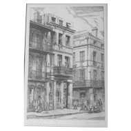 "Etching by MORRIS HENRY HOBBS -top New Orleans printmaker ""Conti St & Exchange Alley"" 1943 Ed/200"