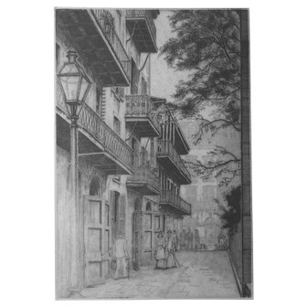 """Artist-signed etching by top New Orleans printmaker MORRIS HENRY HOBBS, """"Pirates Alley"""" 1943 Ed/200"""