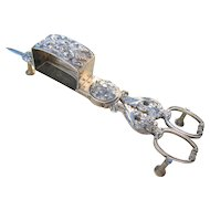 Beautiful antique 'close-plated' CANDLE SNUFFER SCISSORS English Regency, late Georgian rococo wick trimmer