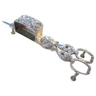 Beautiful antique 'close-plated' (silver on steel) English Regency, late Georgian rococo CANDLE SNUFFER wick trimmer scissors