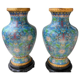 """Magnificent pair of large 15.5"""" Chinese Republic era cloisonne vases and stands"""