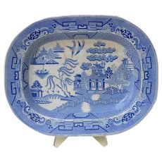 """Superb large 17"""" antique 1850s Victorian English Staffordshire Blue Willow platter by Podmore, Walker & Co."""