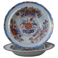 A superb pair of antique 1805-1830 English Georgian soup plates by Spode (Stone China) in the Imari pattern #2053