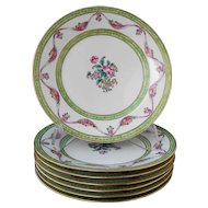 Set of 7 Chinese export porcelain DESSERT PLATES famille rose, in the European taste of the late-1700s.
