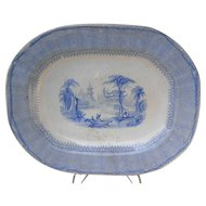 "Gorgeous antique blue Staffordshire platter by Elkin & Newbon, 1840s Romantic era, ""Chinese Villa"" pattern"