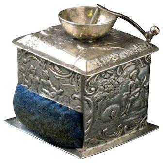 Rare 1890s Dutch 800 silver miniature coffee grinder pin-cushion