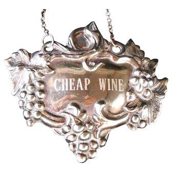 "Vintage Art Nouveau style silverplate  ""CHEAP WINE"" relief grapevine DECANTER LABEL"