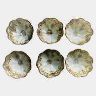 Nippon Nut Bowls, Gold on White, Set of 6