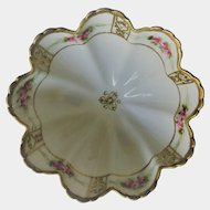 Nippon Morimura Scalloped Footed Floral and Gold on White Bowl