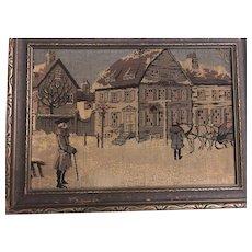 Framed 1920s Jacquard Tapestry