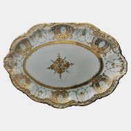 Exquisite 1891 Nippon Tray, Gold, Pale Blue, Beading, Maple Leaf
