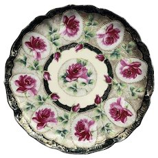 Nippon Rose Plate Gold Beading 1890-1920