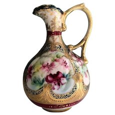 Nippon Floral Handled Pitcher Gold Beading 1910s-1921
