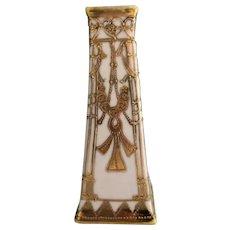 Nippon Art Deco Vase Gold on White ca 1920