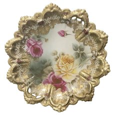Exquisite Highly Decorative Nippon Plate Roses Gold Beading 1891-1920