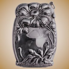 Vesta:Match Safe Sterling Silver Art Nouveau 1890-1910