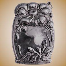 Vesta:Match Safe Sterling Silver Art Nouveau 1890-1910