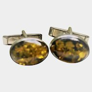 Pale Amber Sterling Cufflinks