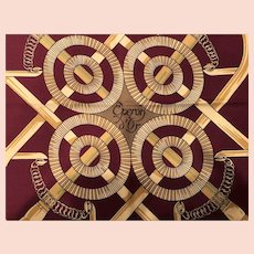 Hermes Eperon d'Or 90CM Silk Twill Scarf 1974