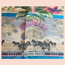 Hermes Tropiques 90CM Silk Twill Scarf 1987