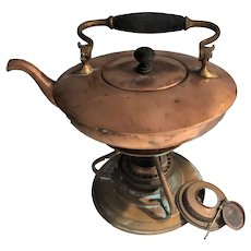 Old Copper Kettle Complete with Warming Stand 1900-1910