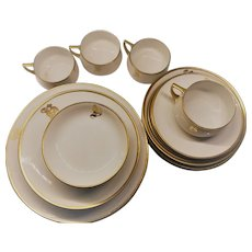 B in Gold Dinnerware Set 1918-1939 and Later