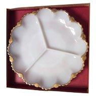 Milk white relish plate Anchor Hocking 1960s