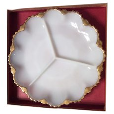 Milk white relish plate Anchor Hocking 1960s