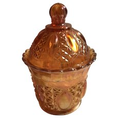 Oregon  Marigold  candy dish or sugar bowl with lid Imperial Glass Ohio 1908-1920