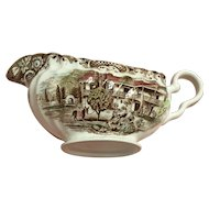 Gravy boat-colonial overhanging-4411 Ironstone heritage hall by Johnson Bros. In circa from 1969-1985