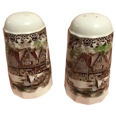 Salt and pepper set-colonial  Ironstone heritage hall by Johnson Bros. In circa from 1969-1985