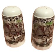 Salt and pepper set-colonial overhanging-4411 Ironstone heritage hall by Johnson Bros. In circa from 1969-1985