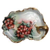 Tressmann & Vogt,limoges France handpainted dogwood tray/plate with handle- 1892-1907