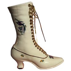 Handpainted Porcelain Victorian style high boot 1960s - 70s