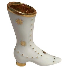Porcelain white with gold  handpainted Victorian style high boot limoges France circa 1950s-70s