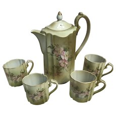 Nippon reproduction porcelain chocolate pot with 4- cups 1990