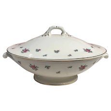 Homer Laughlin Georgian eggshell rambler rose covered vegetable dish circa 1951