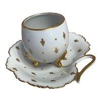 Porcelain cup and saucer set-French limoges -the Fleur de lys.-circa -1900s