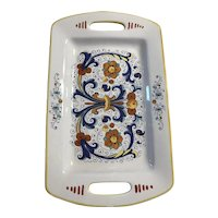 Deruta ceramic rectangle tray with handles made in Italy