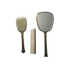 Vintage beveled hand mirror, Brush and comb set