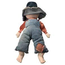 Farmer boy vintage homemade doll boy