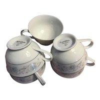 English Garden Platinum fine china tea  cups 1960