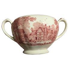 J&G MEAKIN romantic England  red sugar bowl- no lid